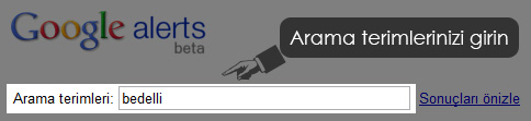 Google Alerts Arama Terimleri