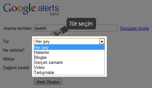 Google Alerts Türi