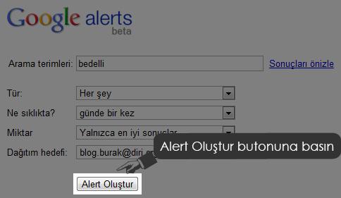 Google Alerts Alert Oluştur?